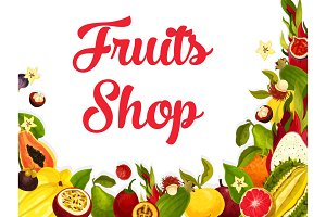 Vector fruit shop poster of tropical exotic fruits