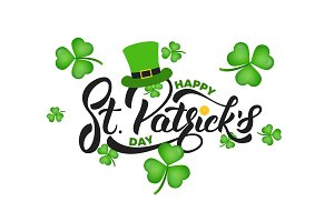Saint Patrick's Day. Clover shamrock leaves background and St. Patrick's lettering. St. Patricks Day background