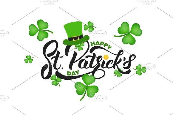 Saint Patrick's Day Clover Shamrock Leaves Background And St Patrick's Lettering St Patricks Day Background