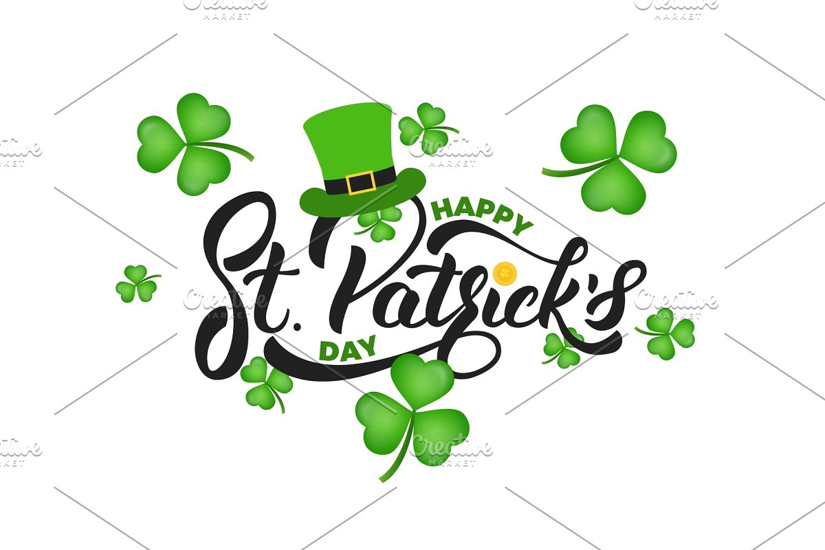 f9d7c3e7 Saint Patrick's Day. Clover shamrock leaves background and St ...