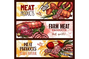 Vector meat farm products sketch banners
