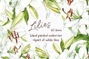 White Lilies watercolor clipart