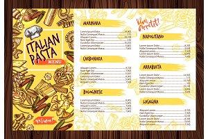 Vector Italian pasta restaurant menu template