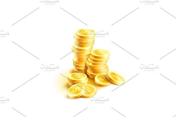 Vector Coins Pile Icon Of Golden Dollar Coin Cents
