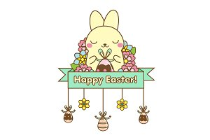 Happy Easter cute rabbit icon
