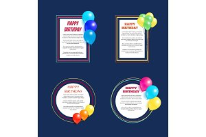 Set Happy Birthday Greetings Frame Balloon Posters