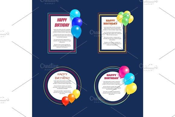 Set Happy Birthday Greetings Frame Balloon Posters