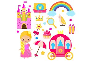 Princess world stickers, icons