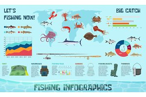 Vector fishing sport infogrpahics template
