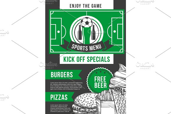 Vector Soccer Sport Bar Football Pub Menu Design