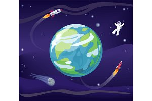 Earth and Spaceman Poster Vector Illustration