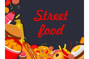 Vector fastfood street food restaurant poster