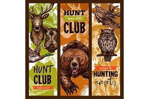 Vector hunt club open season sketch banners
