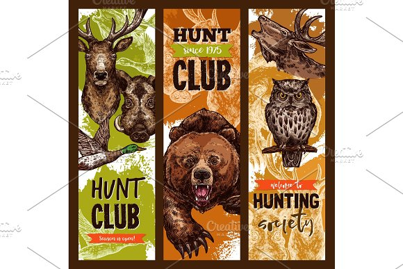 Vector Hunt Club Open Season Sketch Banners