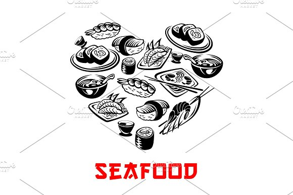 Vector Japanese Seafood Sushi Heart Banners