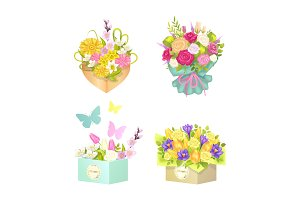 Bouquets and Flowers Set, Vector Illustration