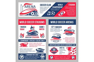 Vector soccer game championship posters template