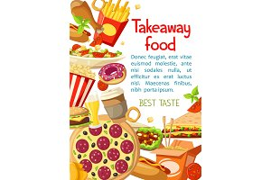 Vector takeaway fastfood meals poster