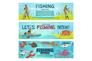 Vector fisherman sport fishing vector banners