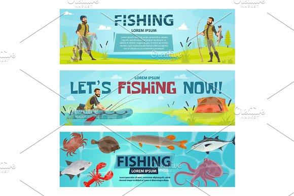 Vector Fisherman Sport Fishing Vector Banners