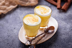 Healthy detox turmeric latte. Golden milk.