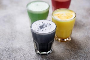 Super lattes with charcoal, beetroots, matcha and turmeric