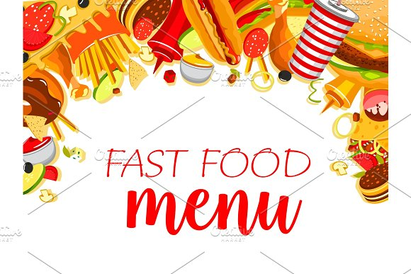 Vector Fast Food Meals Menu Poster