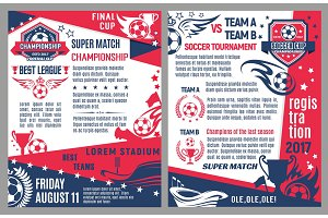 Vector soccer football match tournament poster