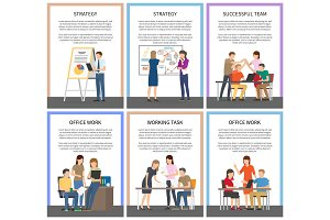 Strategy and Office Work Set Vector Illustration