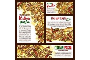 Vector Italian pasta cuisine sketch posters
