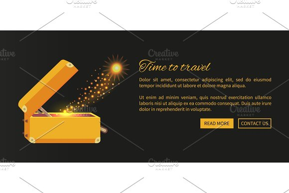 Time To Travel Web Poster With Open Suitcase