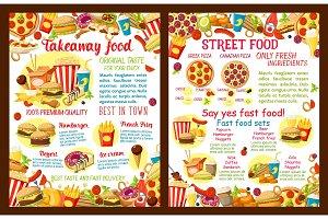 Vector takeaway street food restaurant poster