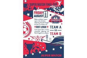 Vector soccer game final match poster template