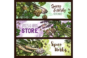 Spices and herbs farm store vector banners