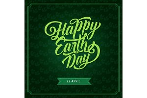 Happy Earth Day eco green vector greeting card