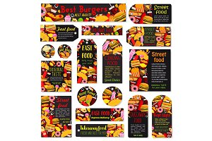 Vector fast food meals and snacks tags set