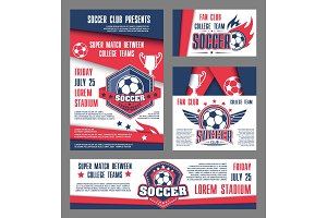 Vector soccer team college football match posters