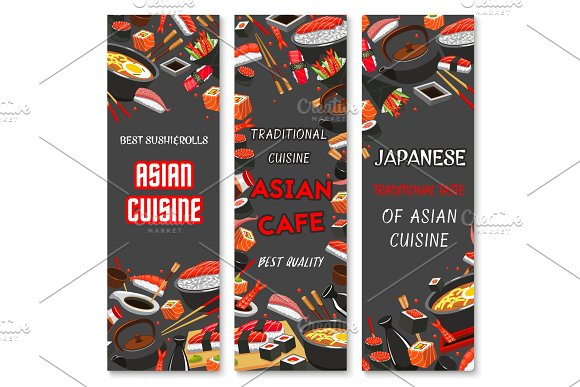 Vector Japanese Sushi Asian Cuisine Banners