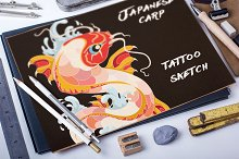 Tattoo illustration Japaneese carp