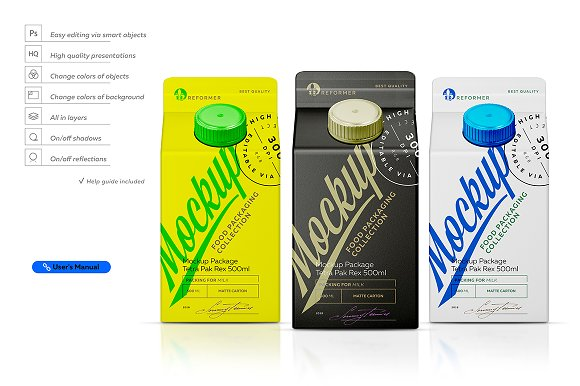 Free Mockup Package Tetra Pak Rex 500ml