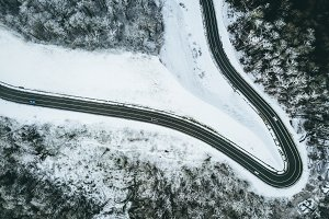 aerial view of the road in the winte