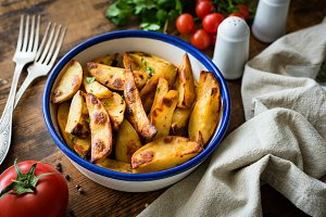 Potato wedges or baked potatoes