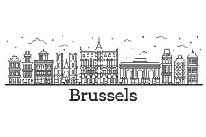 Outline Brussels Belgium City