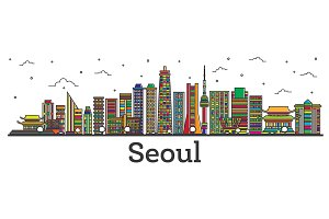 Outline Seoul South Korea City
