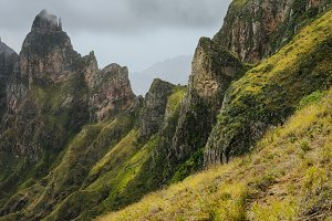 Impressive rugged mountain range overgrown with verdant grass. Xo-Xo Valley. Santo Antao Island, Cape Verde Cabo Verde