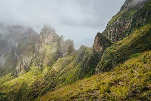 Panorama of a rugged mountain radge overgrown with verdant grass. Xo-Xo Valley. Santo Antao Island, Cape Verde Cabo Verde