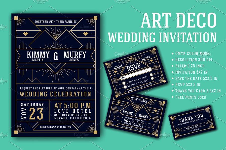 Art Deco Wedding Invitation Template | Creative Wedding Templates ...