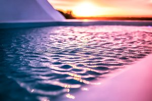 Sunset over pool. Lets party.