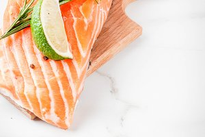 Fresh raw salmon steak fillet
