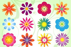 Mod Flowers Vectors and Clipart